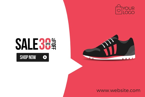 Flat Product Sale Shoe Banner