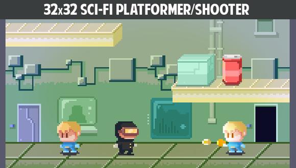 32x32 Sci-fi Platformer Shooter Pack