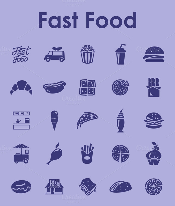 20 Fast Food Simple Icons
