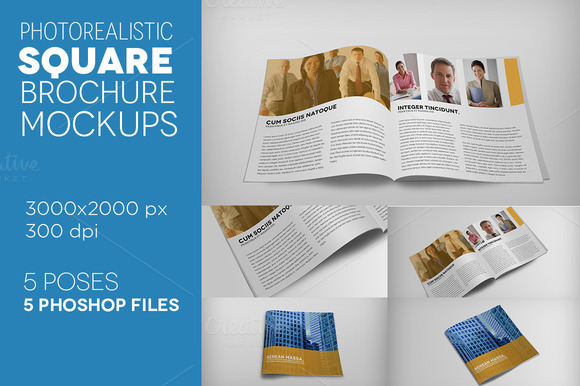 Premium Square Brochure Mockups