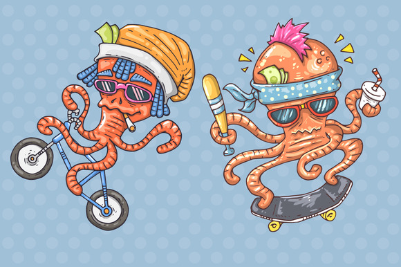 Set Of Cartoon Octopus