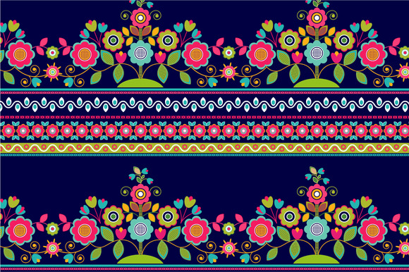 2 Striped Seamless Floral Patterns