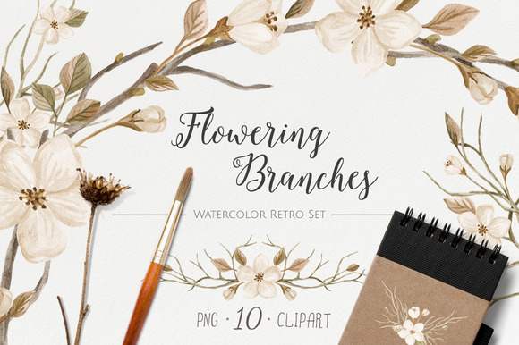 WatercolorRetroSet.FloweringBranches