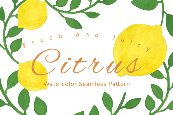 Citrus Watercolor Seamless Pattern