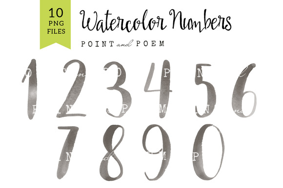 Watercolor Numbers Clip Arts