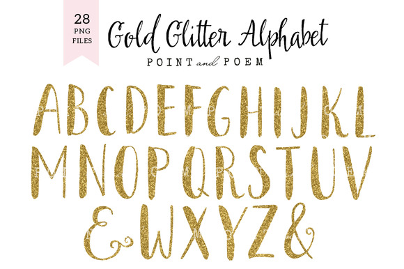 Gold Glitter Alphabet Cliparts
