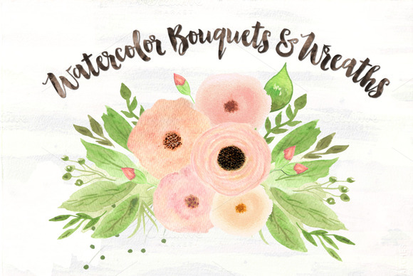 Sonata Watercolor Bouquets Wreaths