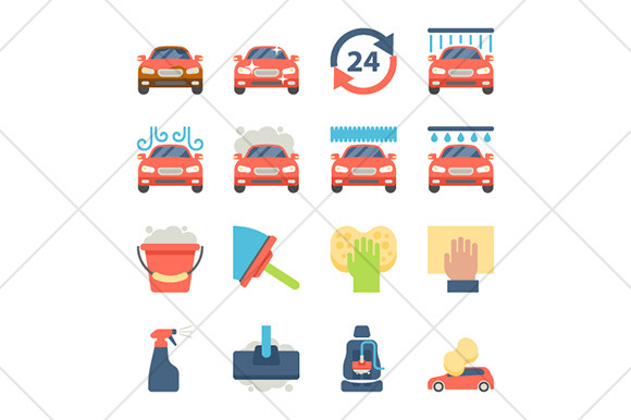 Car Wash Flat Icons