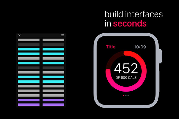 Apple Watch UI Kit Ps Actions