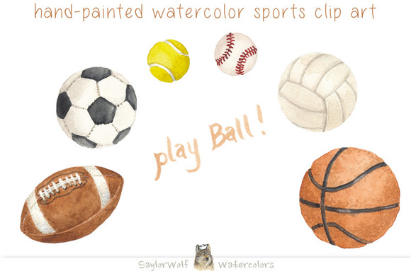 Watercolor Sports Game Ball Clipart