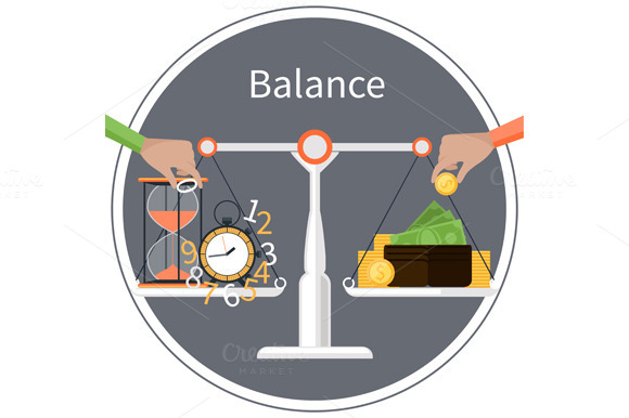 Balance In Time Is Money Concept