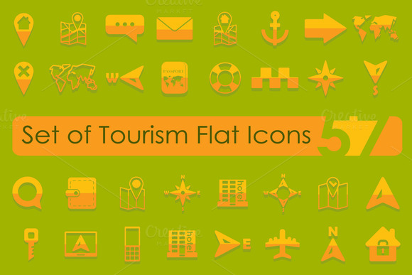 57 TOURISM Flat Icons