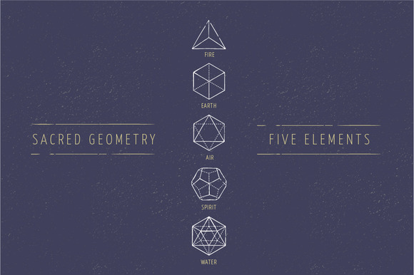 5 Elements Sacred Geometry Icons