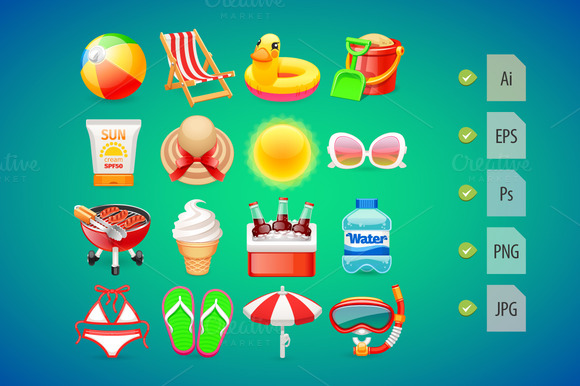 Colorful Summer Icons Set