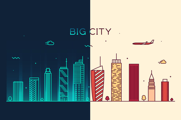Set Of Two Big City Skylines