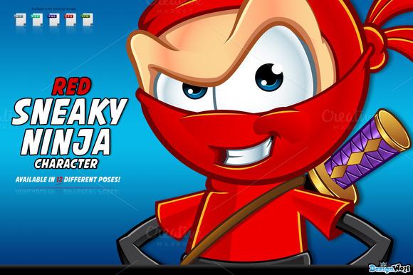 Red Sneaky Ninja Character