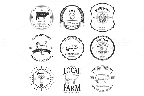Set Of Agriculture Vector Label