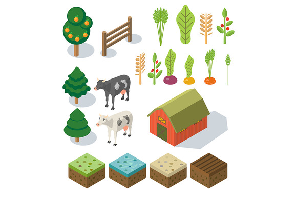 Isometric Farm In Village Elements