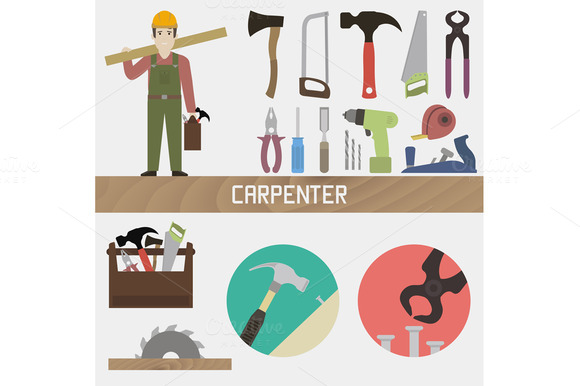 Carpenter Set In A Flat Style