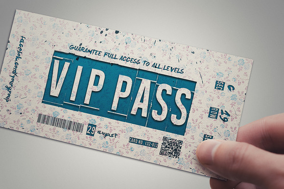 RETRO FLOWER Vip Pass Template