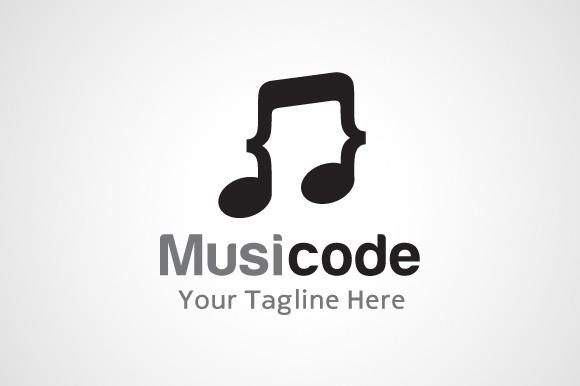 Music Code Logo Design Icon