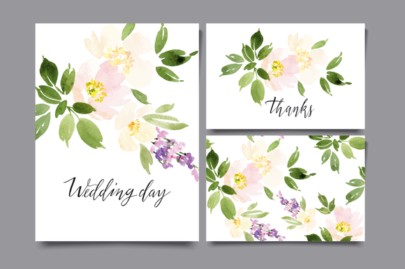 Set Of Watercolor Cards For Wedding