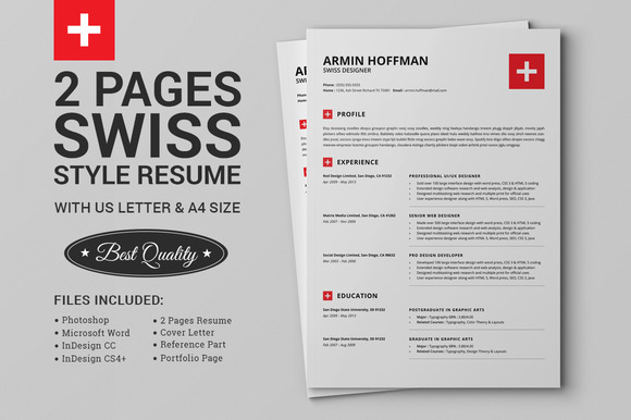 2 Pages Swiss Resume Extended Pack