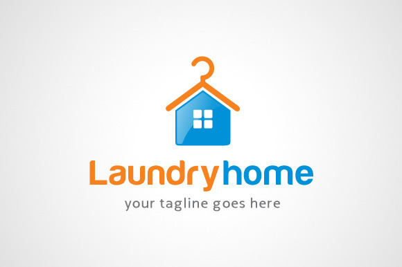 Laundry Home Logo Design Icon