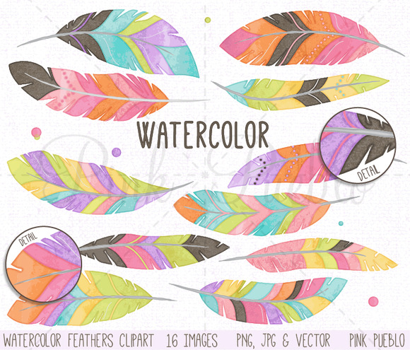 Watercolor Feather Clipart Vectors