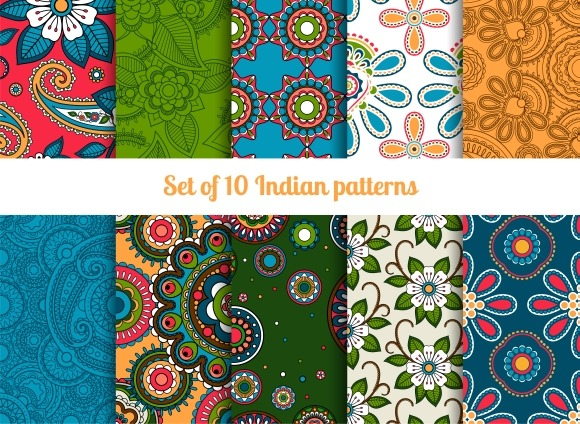 Paisley And Flower Indian Patterns