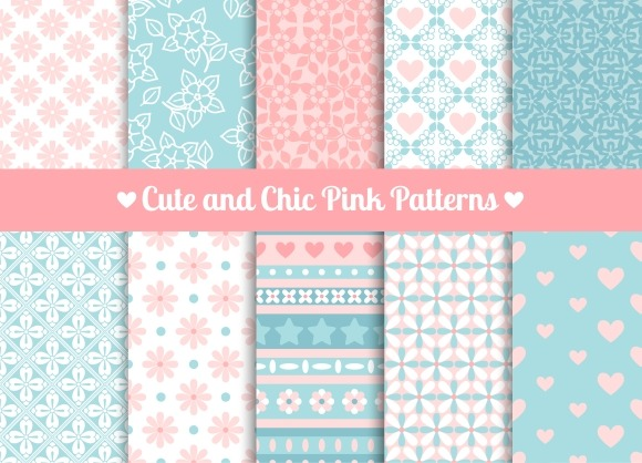 Chic Pink And Blue Patterns