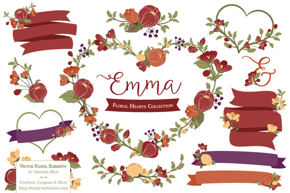 Autumn Floral Heart Wreath Clipart