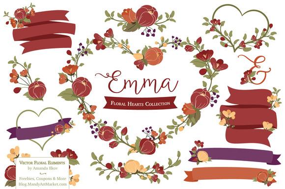 Autumn Floral Heart Wreath Clipart