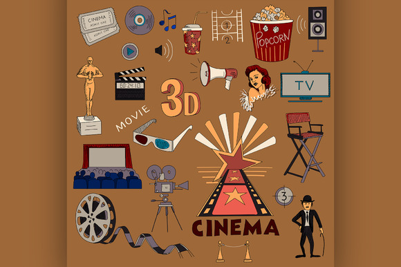 Colored Hand Drawn Cinema Icon Set
