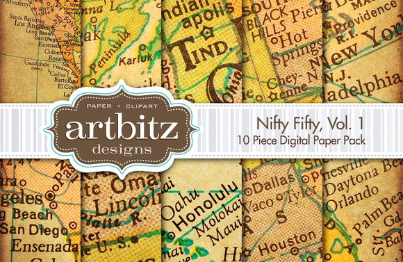 Nifty Fifty Digital Paper Maps