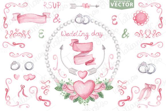 Watercolor Vector.Pink Wedding Set 2