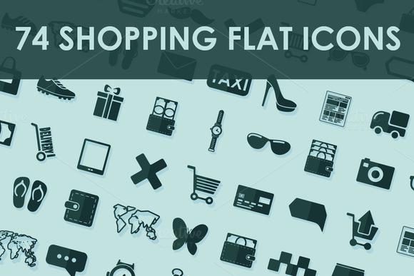74 SHOPPING Flat Icons