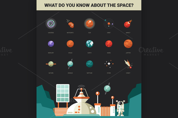 Space Icons Flat Design Illustration