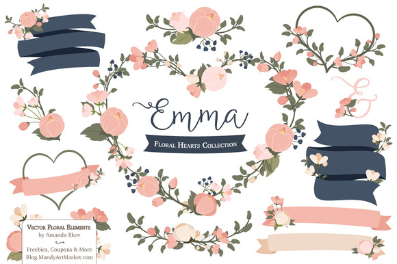 Navy Blush Floral Heart Clipart