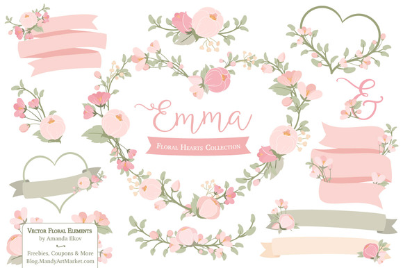 Soft Pink Floral Heart Wreath Vector