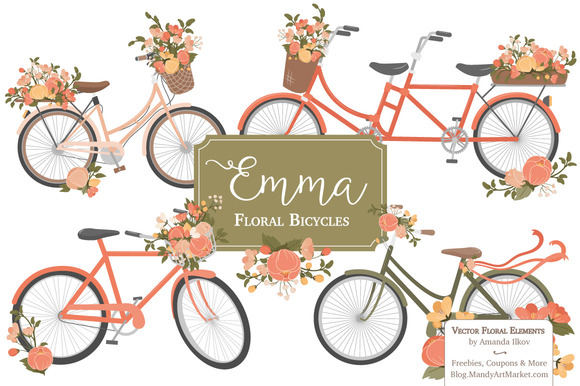 Peach Floral Bicycles Clipart