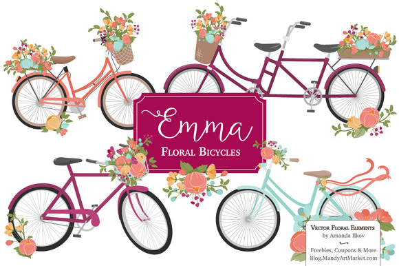 Bohemian Bicycles Flowers Clipart