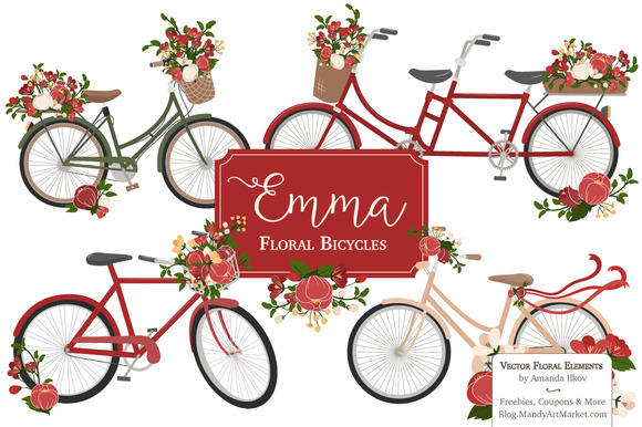 Floral Christmas Bicycles Clipart