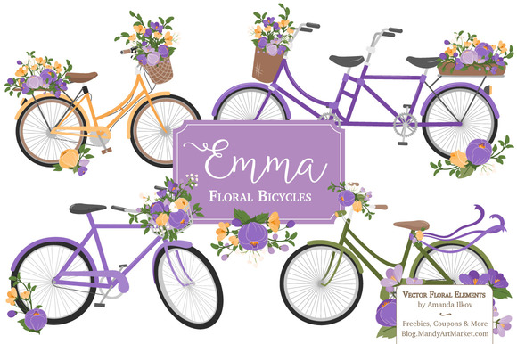 Spring Floral Bicycles Clipart
