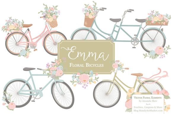 Pastel Floral Bicycle Vectors