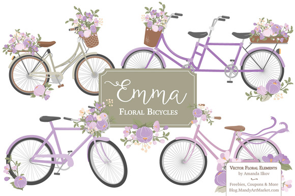 Lavender Floral Bicycles Clipart
