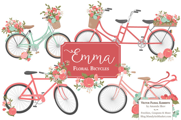 Mint Coral Floral Bicycles