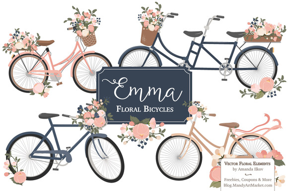 Navy Pink Floral Bicycles Clipart