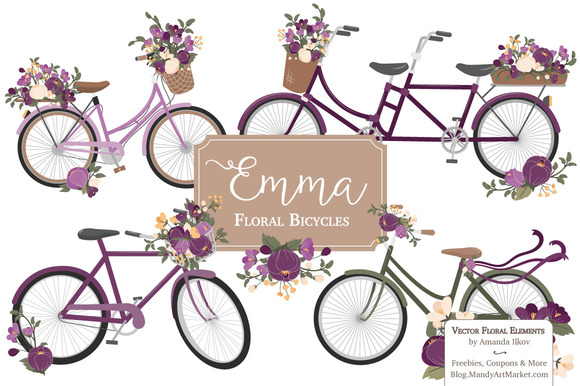 Plum Floral Bicycle Vector Clipart