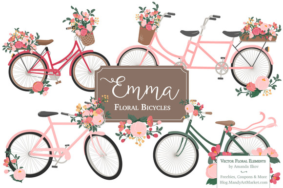 Rose Bicycles Clipart Vectors